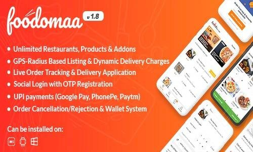Foodomaa v1.8.1 - Multi-restaurant Food Ordering - nulled